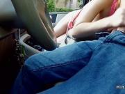 Blonde masturbates and fucks in car