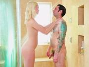 Hot blonde Chloe Cherry shower stroking
