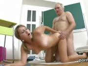 Erotic college girl is seduced and drilled by her aged instru