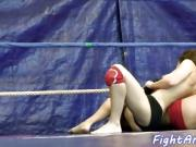 Petite wrestling lesbians play with strapon