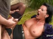 Speechless looker in lingerie is geeting pissed on and pounde