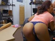 Sexy brunette pounded by horny pawn man