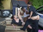 Kinky female cops chase arrest and fuck criminal outdoors