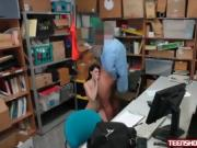 Big titty thief Alex Harper creampied by bad security guard