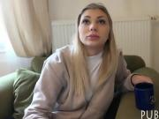 Czech babe flashes her tits and screwed for some money