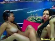 Three Sexy Lesbians Pleasure Each Other in Bed