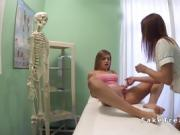 Nurse fingering and licking lesbian patient