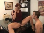 Redheaded Nikki Hunter fucks with boss