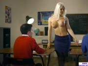 A nasty threeway sex act with Blanche Bradburry on the desk