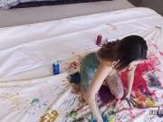 Brunette gf naked painting in bedroom