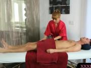 Redhead masseuse ass banged by nasty man after massage