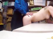 Awkward Teen Shoplifter Fucked By Two Security Guards