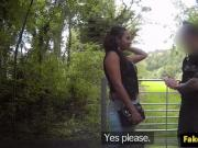 Pulled ebony fucked outdoors by uniformed guy