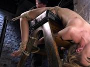 Blonde spanked and whipped in hogtie