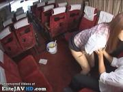 Japanese tour guide fucks 18yo student on bus