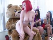 College girl gets fucked while her best friend gives head