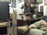 Sexy brunette Rockstar gets banged in the pawnshop for cash