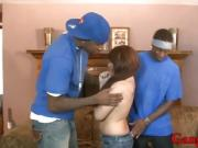 Small tits teen cutie double drilled by big black cocks