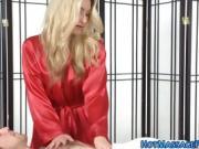 Blonde masseuse gobbles