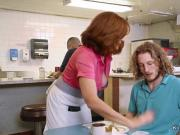 Redhead Milf waitress banging at job