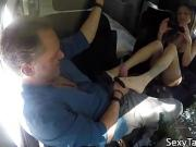 Taboo milf gives footjob to guy in car before he rubs her pus