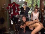 Hot babe anal gangbanged in public