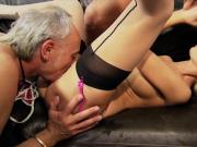 Ben and Tony hammer Christine's pussy until they cum