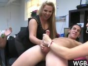 Sexy stripper is getting his cock sucked by several babes