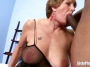 Busty Mature Blonde With Two Studs