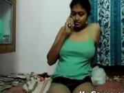 Indian girl masturbating while speack at phone