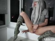 Youn g girl with camel toe and in socks finger