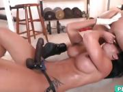 Strong and dominant woman teases lover's dick and asshole