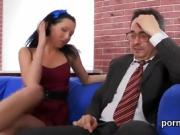 Fervid bookworm is teased and poked by her older tutor