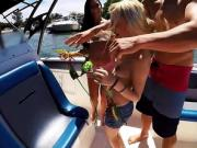 Four petite teen friends public fucking on a speed boat