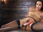Ebony in stockings fucking machine
