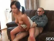 Sweet beauty gets a wild drilling from horny old teacher