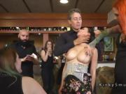Busty sub gets deep throat and dp in public bar