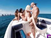 Sexy bikini babes group fucking on a boat