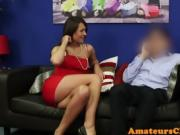 Classy european CFNM babe secretly cocksucking on the couch