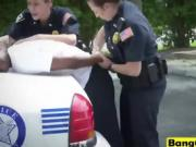 Black stud threesome busty female cops outdoor