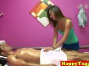 Asian masseuse tugs client in front of spycam