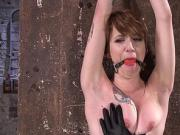 Hogtied redhead Milf tormented in dungeon