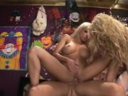 These two gorgeous blondes share his throbbing shaft