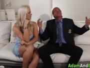 Pussy eaten busty blonde rides cock and gets mouth jizzed