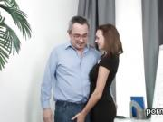 Lovely schoolgirl was tempted and penetrated by her older men