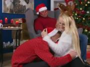 Busty blonde mom bangs young guy at Xmas eve