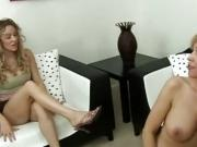 Talkative teen is taught a cock lesson from busty milf