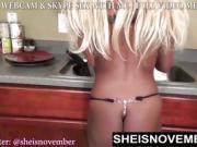 Great Round Bigass Hot Blonde Teenie Spreading Pussy Kitchen