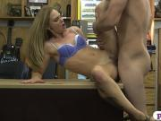 Tight blonde babe boned at the pawnshop