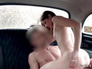 Brunette spinner bangs in fake taxi